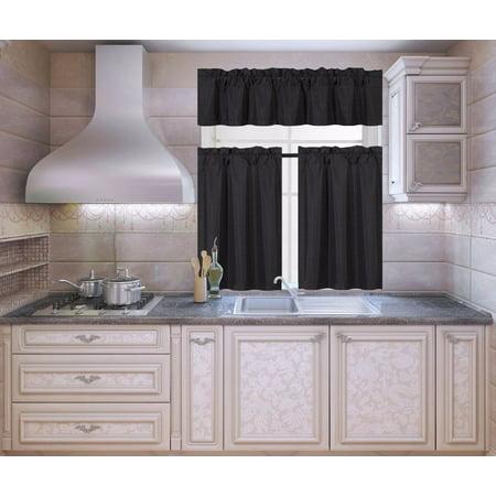 K3 Black 3-Piece Blackout Rod Pocket Kitchen Window Curtain Set Darkening Tier Panels Treatment with Matching Valance ()
