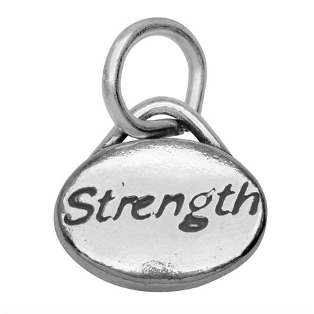 Sterling Silver Message Charm, 'Strength' 11x8mm, 1 Piece, Antiqued Silver (Antique Charm)