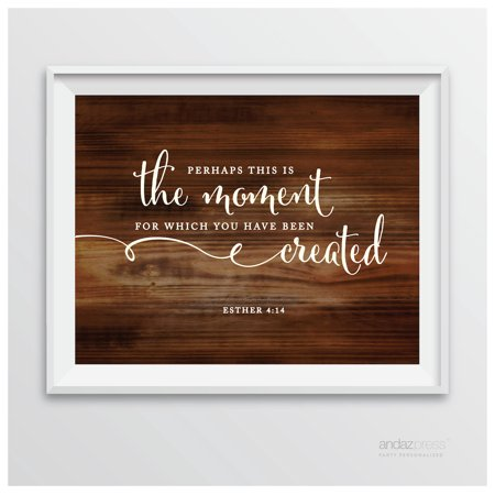 Esther 4 14 - Perhaps This Is The Moment Biblical Quotes Rustic Wood Wedding Signs - Used Rustic Wedding Decor