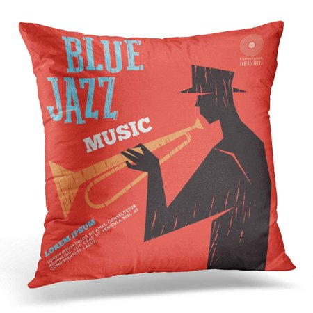 Jazz Bass Drum (ECCOT Drums Band Blue Jazz Music Bass Festival Pillowcase Pillow Cover Cushion Case 20x20 inch)