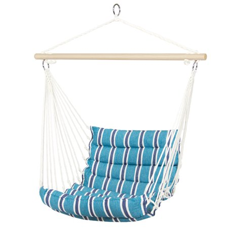 Hammock Chair (Best Choice Products Indoor Outdoor Padded Cotton Hammock Hanging Chair Patio, Porch, Bonus Room w/ 40in Wooden Spreader Bar - Blue )