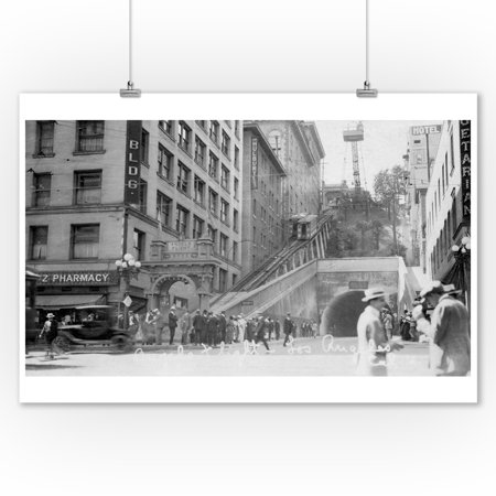 Vintage Car Decor (Los Angeles, California - Andels Flight Street Cars - Vintage Photograph (9x12 Art Print, Wall Decor Travel)
