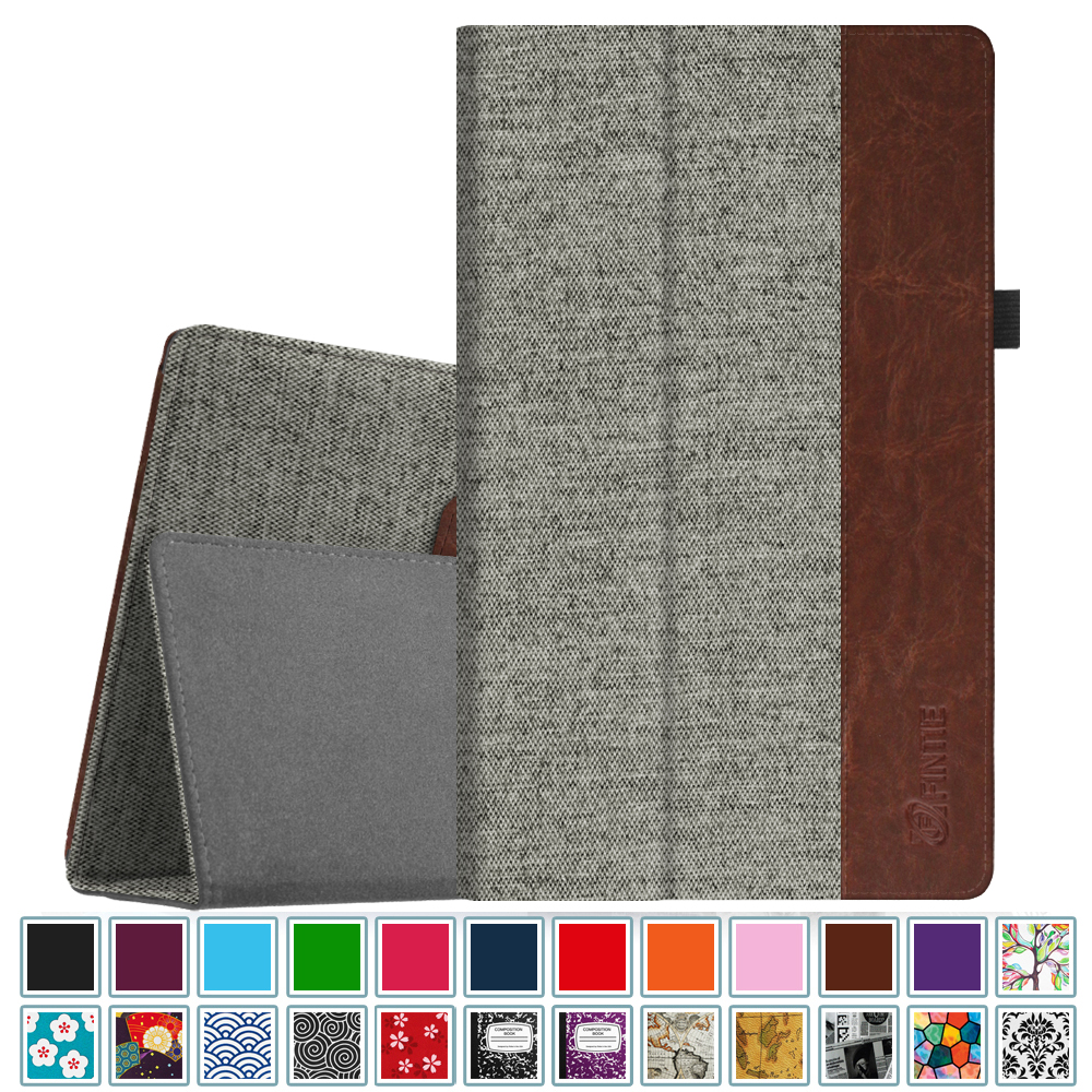 Fintie Folio Case for Amazon Fire HD 10 Tablet (7th Gen, 2017 ) - Premium Fabric Stand Cover, Denim Gray