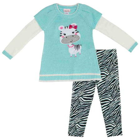 Little Lass Infant & Toddler Girls 2 Piece Zebra Sweater & Leggings Outfit](Zebra Outfit)