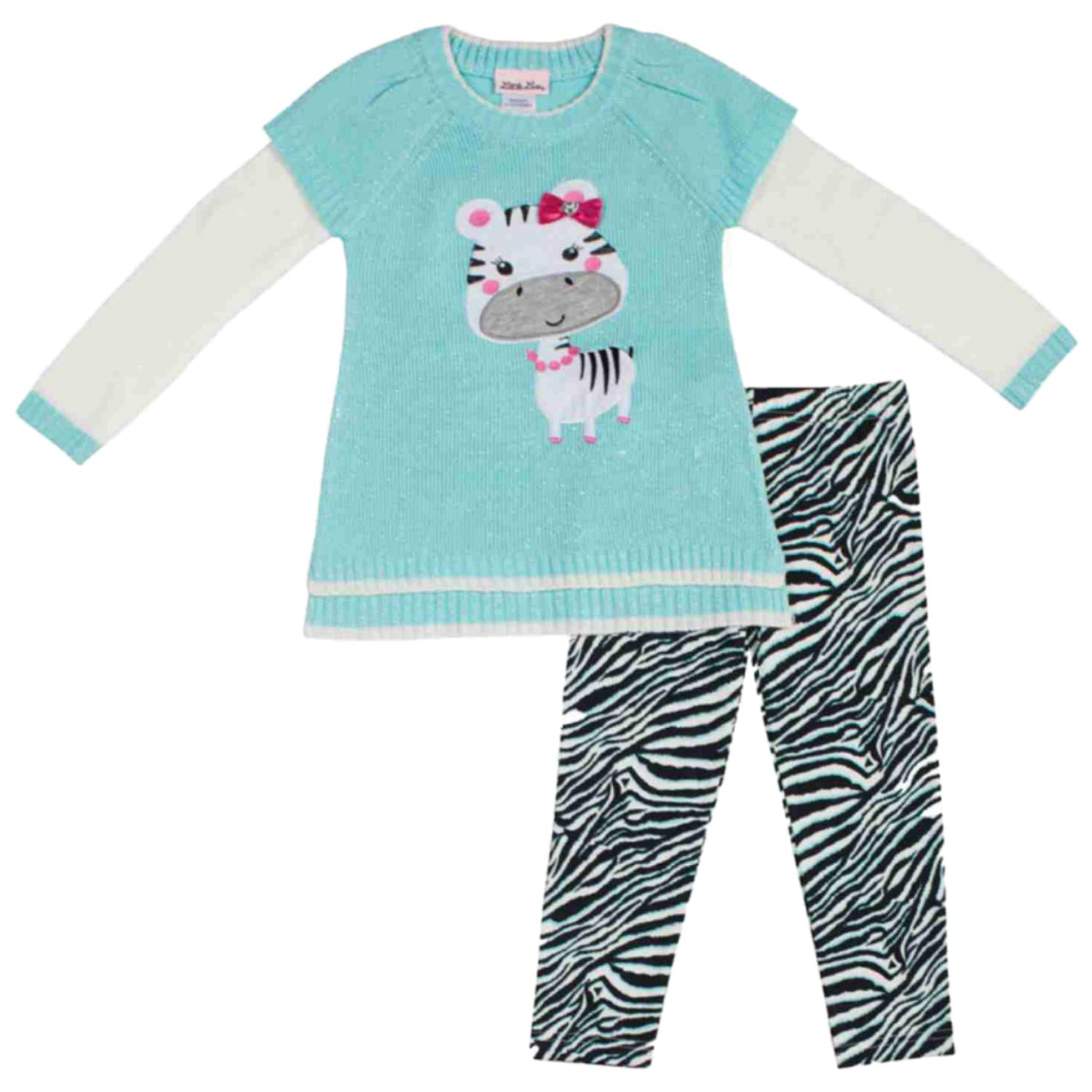 Little Lass Infant & Toddler Girls 2 Piece Zebra Sweater & Leggings Outfit