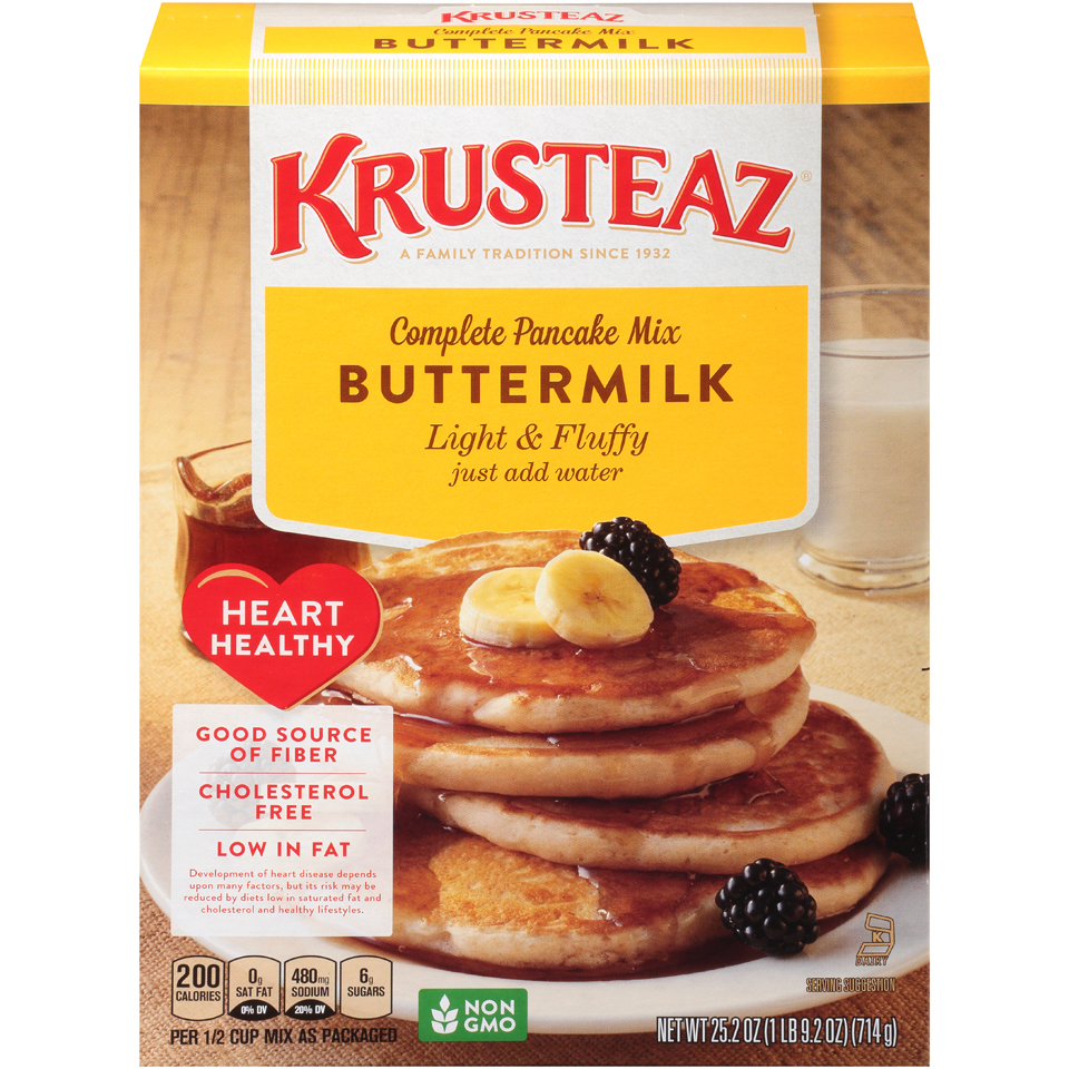 Krusteaz Buttermilk Light & Fluffy Heart Healthy Complete Pancake Mix, 25.2 Ounce