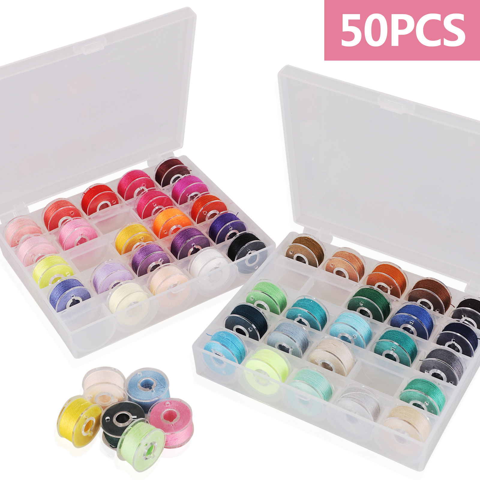 TOP QUALITY Plastic Bobbin Storage Box 50 COLOUR BOBBINS Fits MOST JANOME