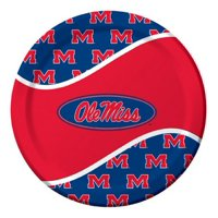 """Pack of 96 NCAA Ole Miss Rebels Round Tailgate Party Paper Dinner Plates 8.75"""""""