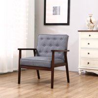 Ktaxon High Quality Modern Fabric Upholstered Wooden Lounge Chair Home Furniture Grey