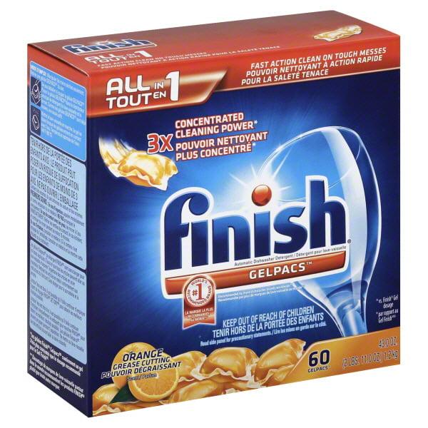 Finish Gelpacs Dishwasher Detergent, Orange Scent, 60 Count