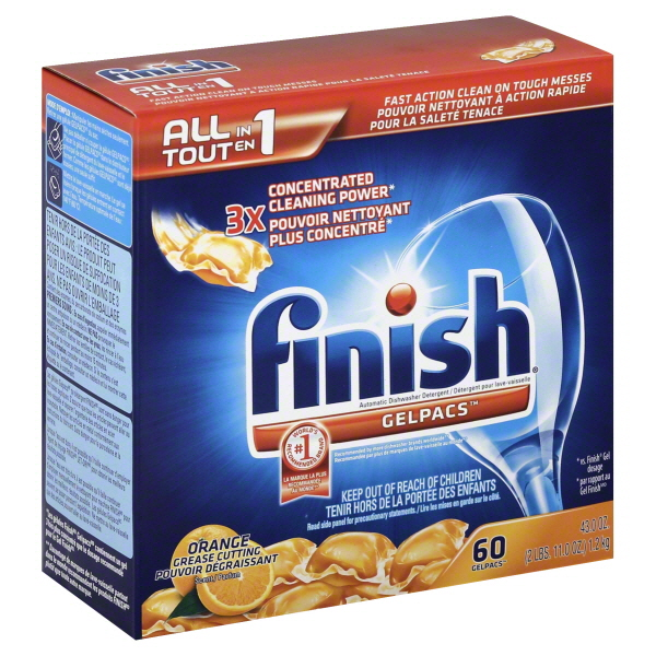 Finish Gelpacs Dishwasher Detergent, Orange Scent, 60 Count