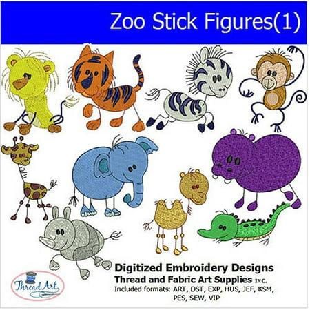 Threadart Machine Embroidery Designs Zoo Stick Figures(1) CD Mastering Machine Applique