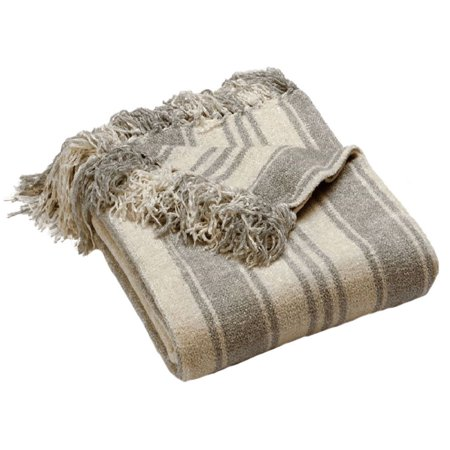 Luxury Striped Chenille Throw Blanket, Gray Plush Blanket