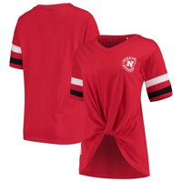 Nebraska Cornhuskers Pressbox Women's Knotted Hem V-Neck T-Shirt - Scarlet