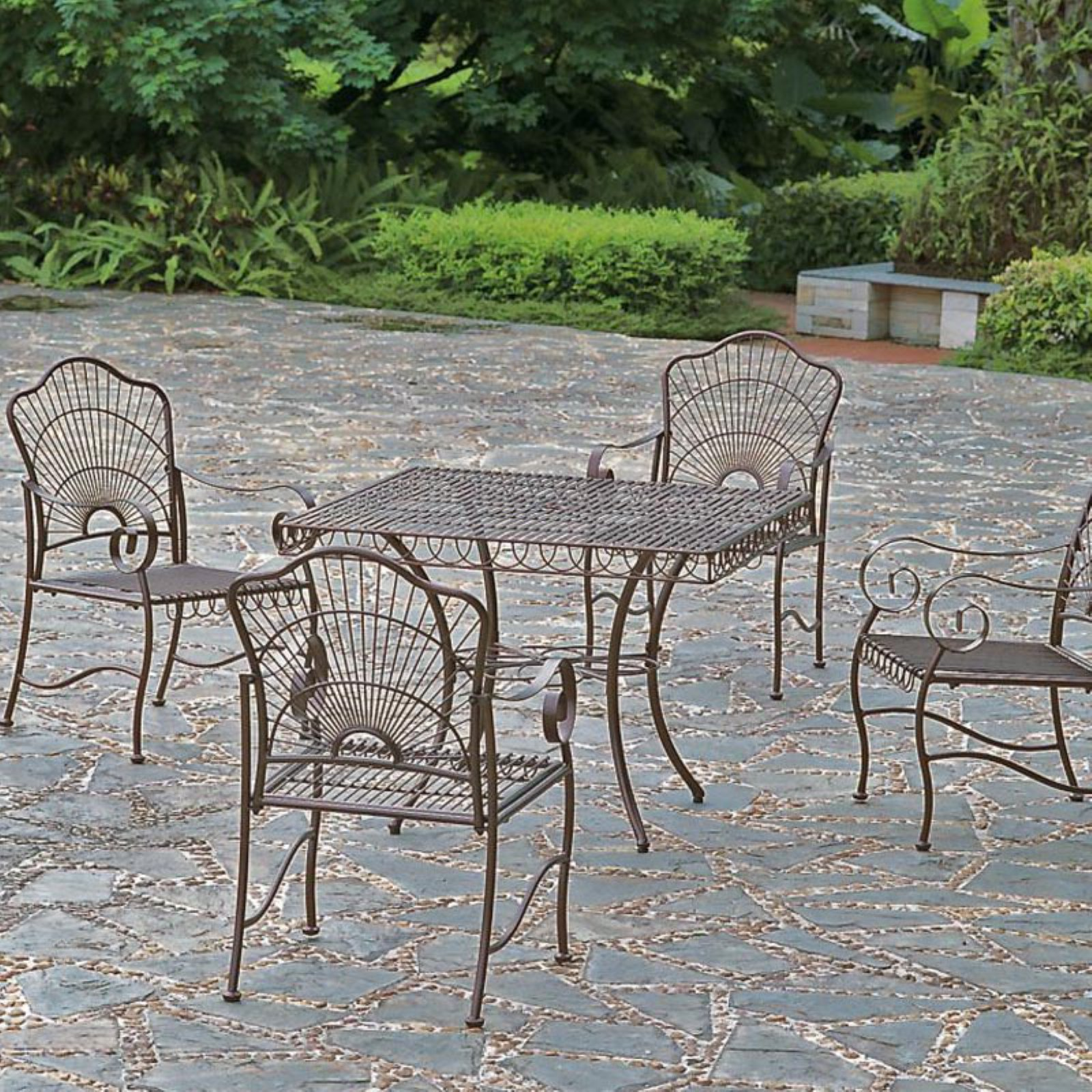 International Caravan Sun Ray 5 pc. Copper Finish Patio Dining Set