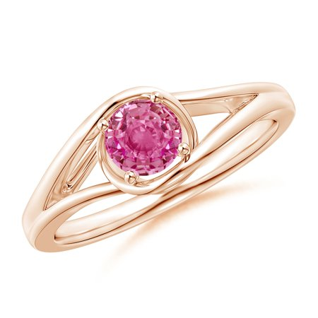 September Birthstone Ring - Twist Split Shank Solitaire Pink Sapphire Ring in 14K Rose Gold (5mm Pink Sapphire) - SR1203PS-RG-AAA-5-3.5