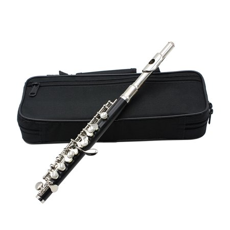 Piccolo Ottavino Half-size Flute Cupronickel Silver Plated C Key Tone with Polish Cloth Cleaning Stick Padded Box Case Screwdriver