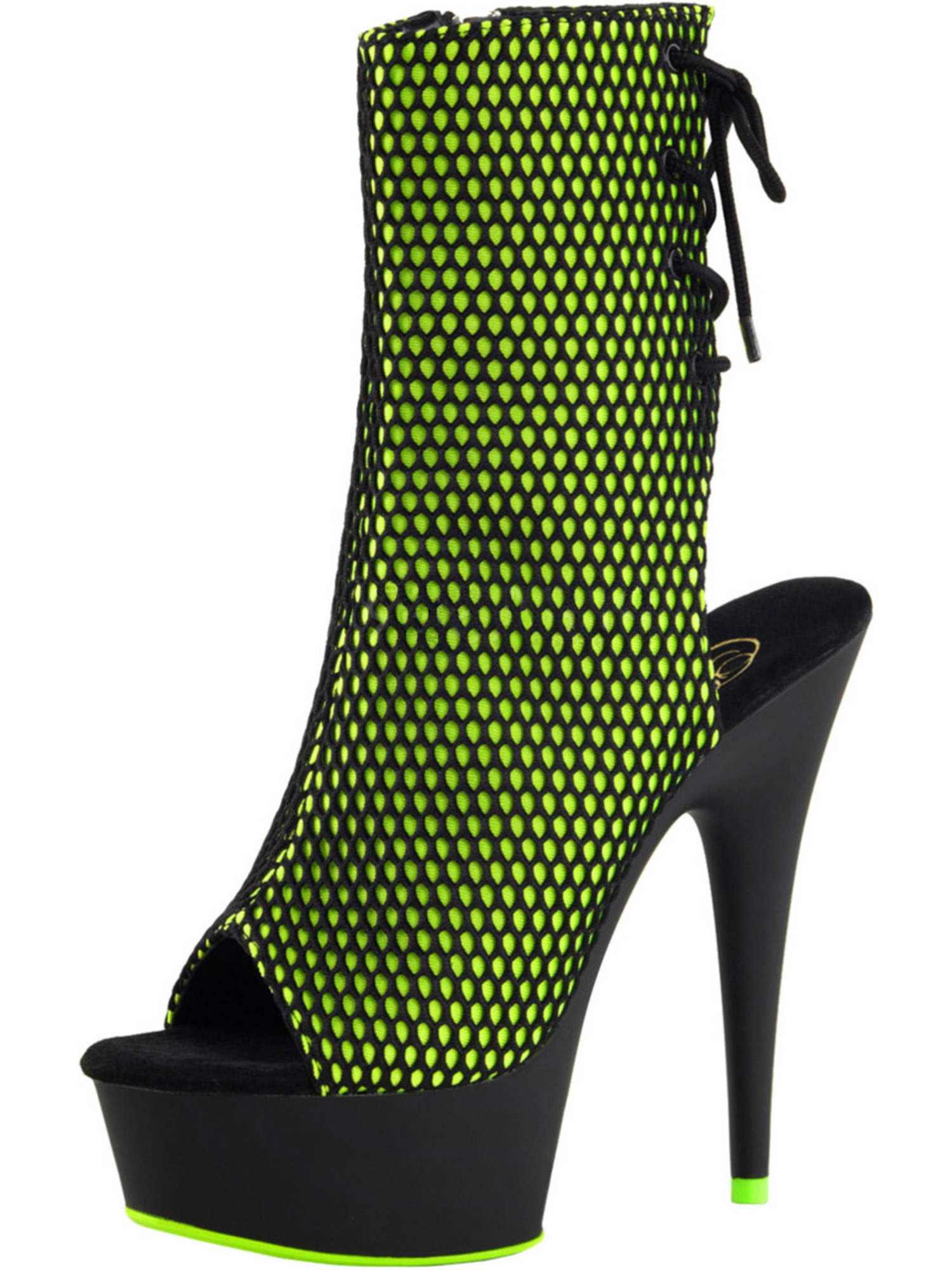 Womens Lime Green Heels Blacklight Fishnet Ankle Boots Black Booties 6 In Heels