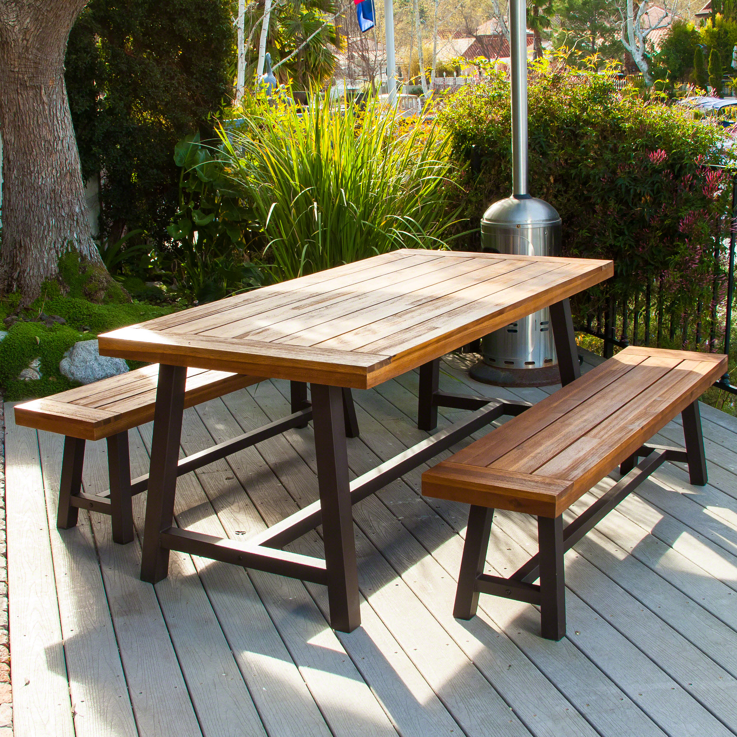 Finca Rustic Metal 3-piece Outdoor Dining Set