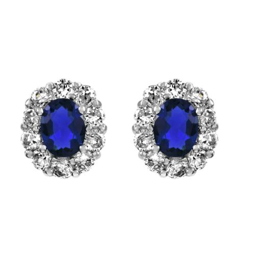 Emitations Blue Cubic Zirconia Oval Stud Earrings