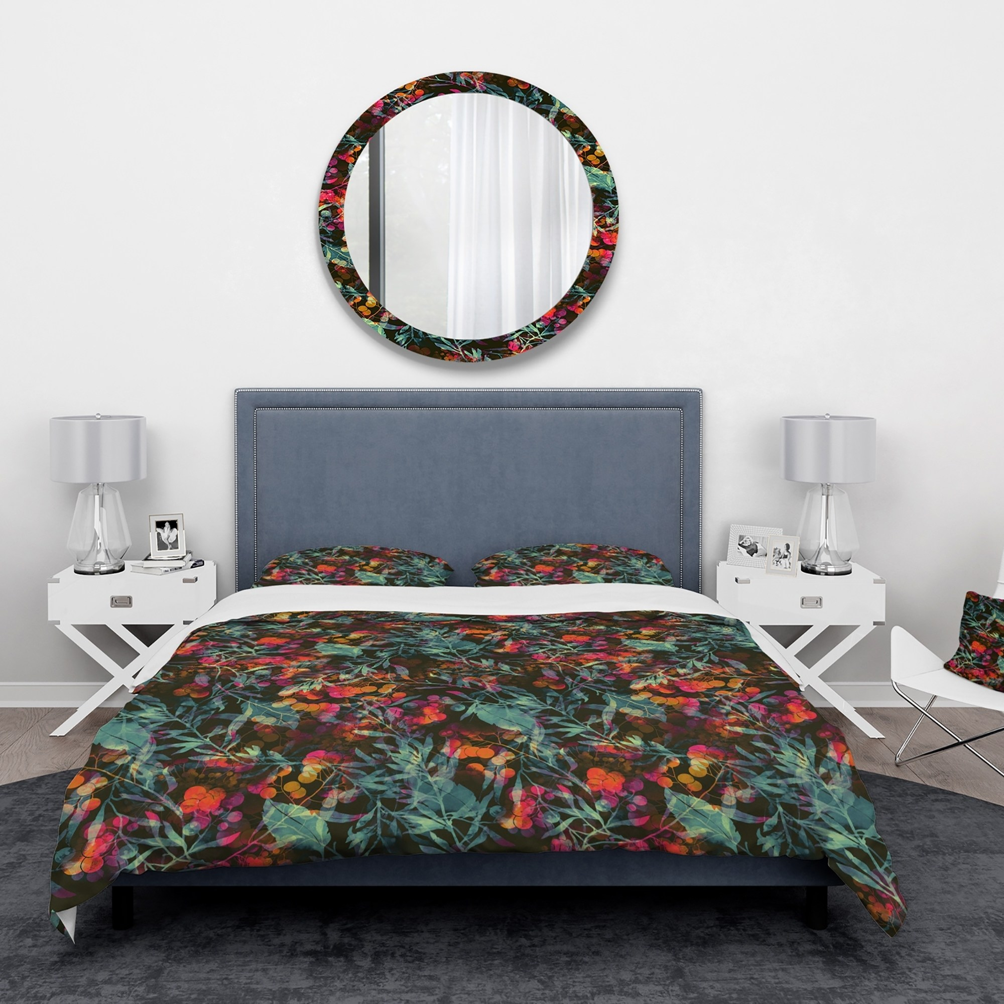 DESIGN ART Designart 'Superimposed blend of Herbs Flowers Leaves and Berries' Abstract Bedding Set - Duvet Cover & Shams
