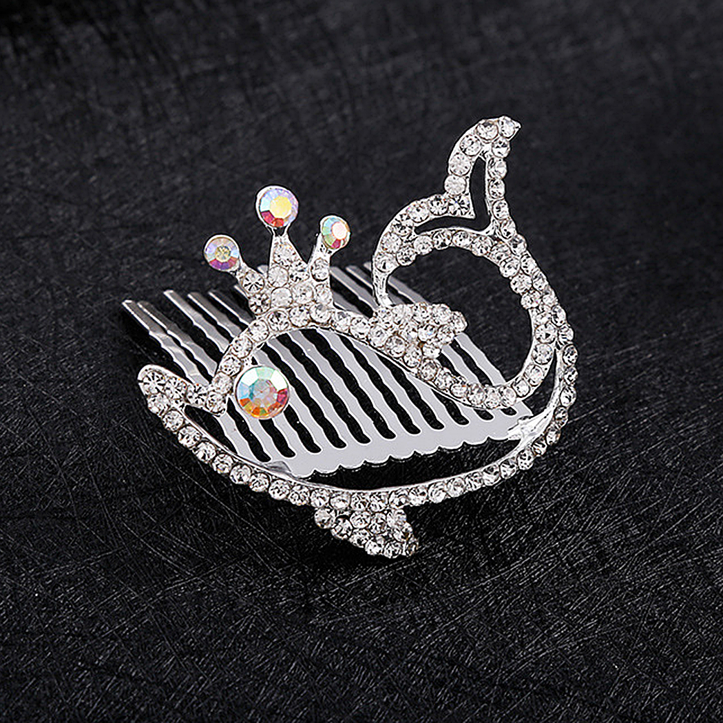 Coxeer Girls Hair Clip Comb Rhinestone Hair Side Comb Hair Headpiece Comb for Children