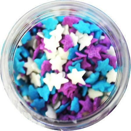 Light Blue, Purple, & White Stars Edible Sprinkles - 2.6 oz - National Cake Supply - Star Sprinkles