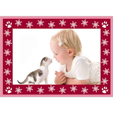 Birchcraft Studios 2230 The Cats Meow Photo Card in Pink - Gold Lined Envelope with White Lining - Burgundy Ink - Pack of 25
