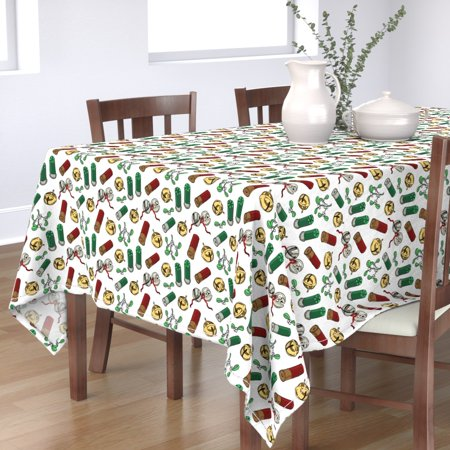 Tablecloth Christmas Hunter' Holiday Gift For Gun Lover Mistletoe Cotton Sateen ()