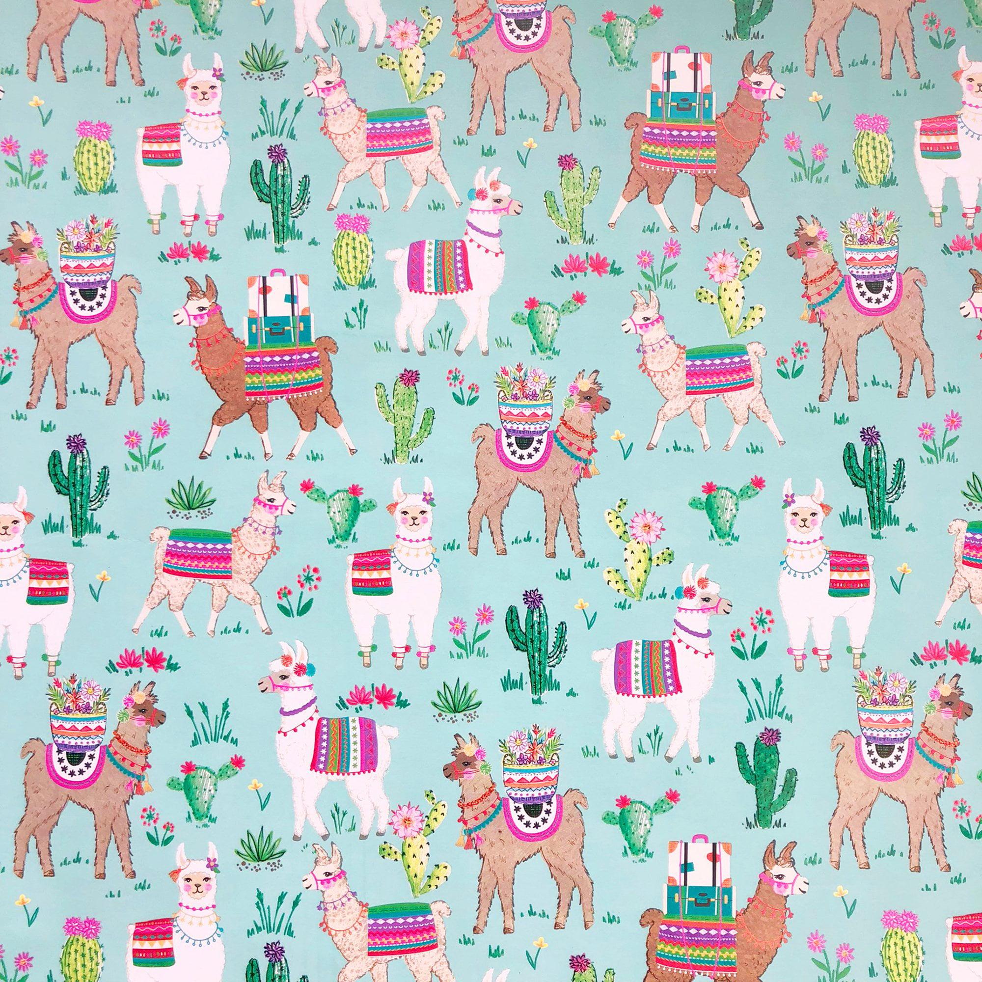 "Jillson & Roberts Bulk Gift Wrap, Dolly Llama, 1/2 Ream 417' x 24"""