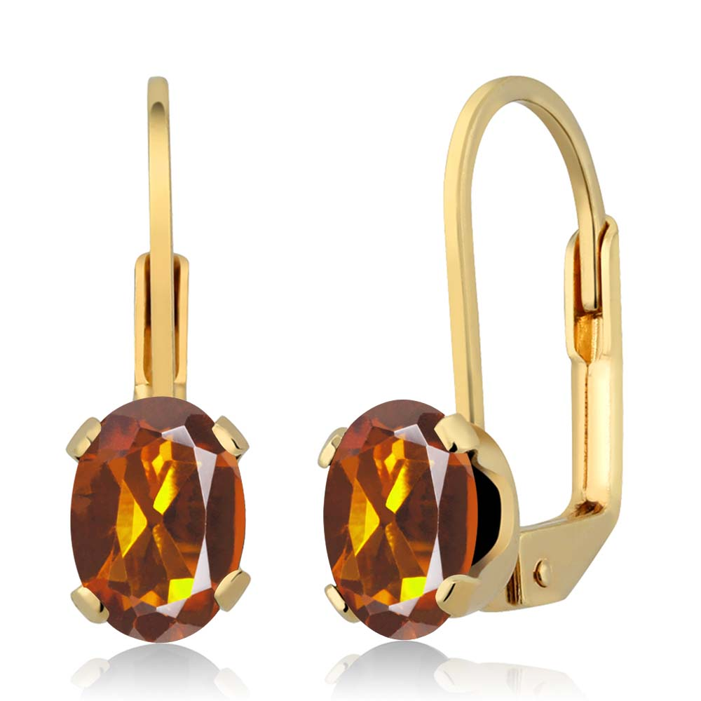 1.40 Ct Oval Orange Red Madeira Citrine Gold Plated 4-prong Leverback Earrings