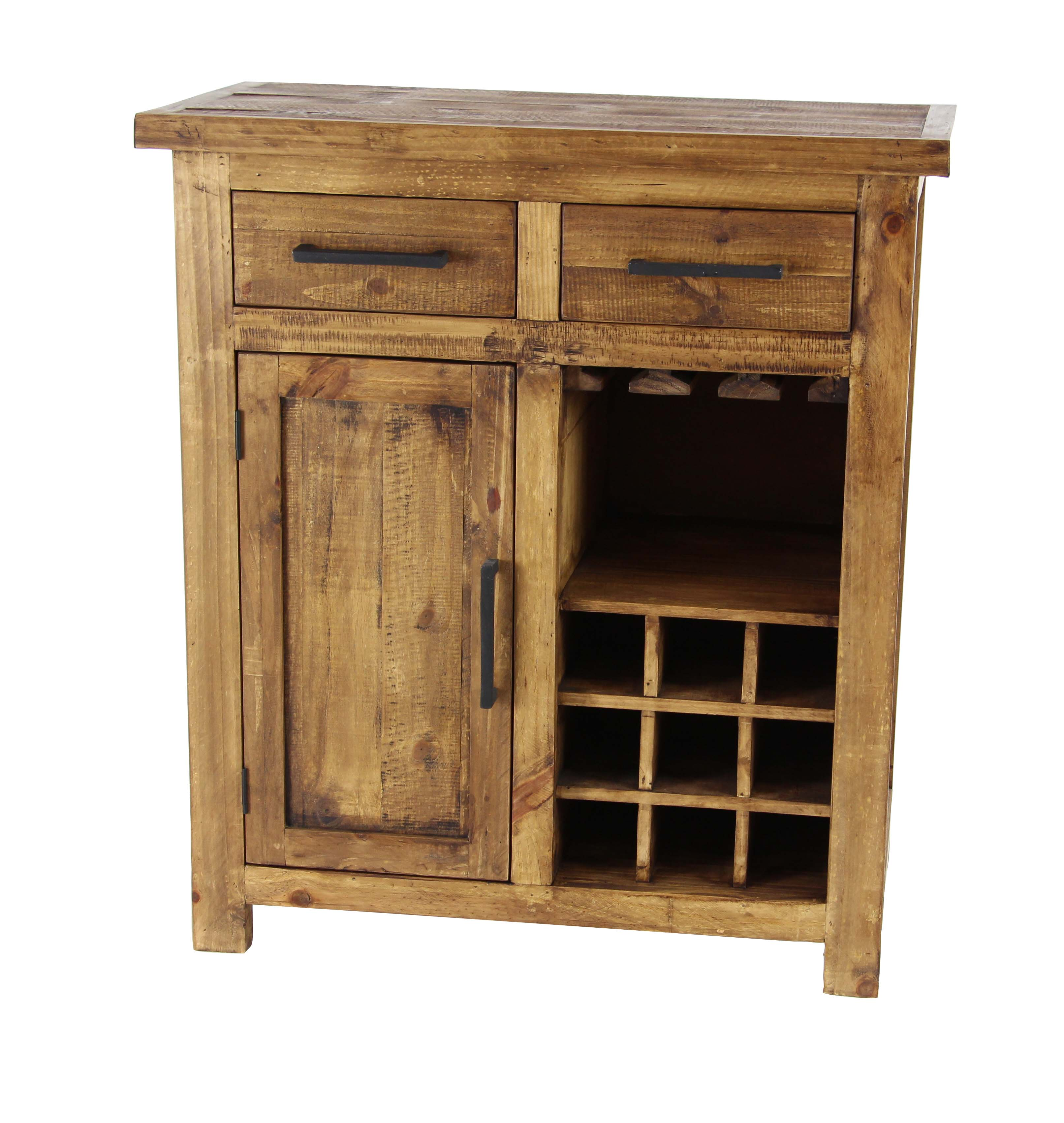 Decmode Rustic Pine Wood Brown 9-Bottle Wine Cabinet With Drawers and Stemware Rack, Brown by DecMode
