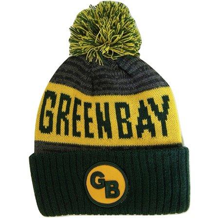 552cbc77b5c9c Green Bay GB Patch Ribbed Cuff Knit Winter Hat Pom Beanie (Green Gold Patch)  - Walmart.com