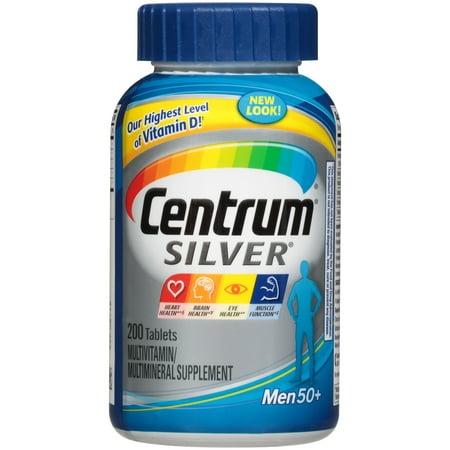 Centrum Silver Men 50+ (200 Count) Multivitamin / Multimineral Supplement Tablets, Vitamin D3