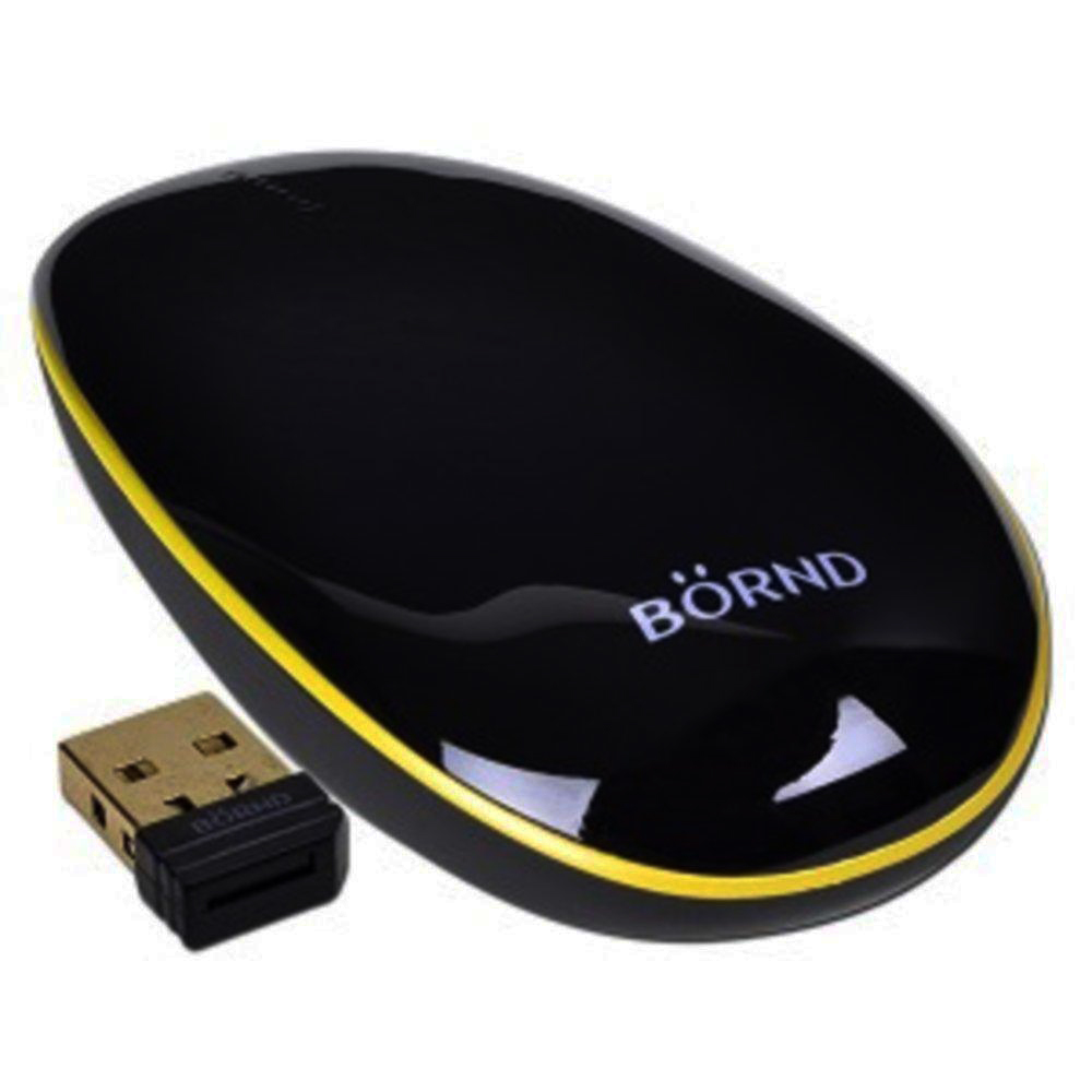 Bornd T100 Wireless Optical Ultra Thin Nano USB Receiver Touch Mouse - Black
