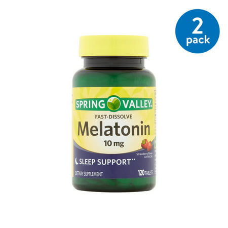 - (2 Pack) Spring Valley Melatonin Fast Dissolve Tablets, 10 mg, 120 Ct