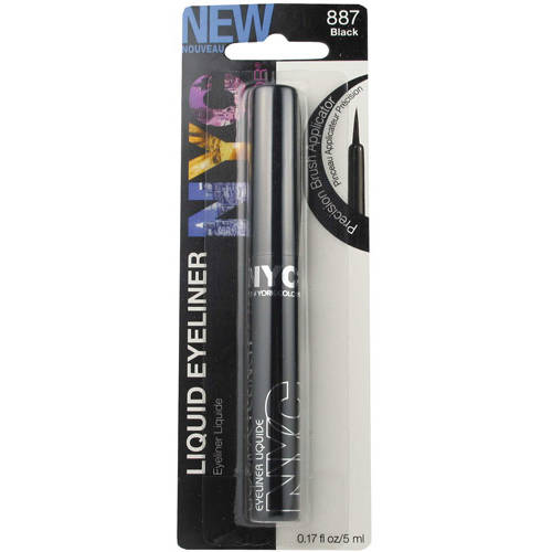 NYC New York Color Liquid Eyeliner, 887 Pearlized Black, 0.17 fl oz