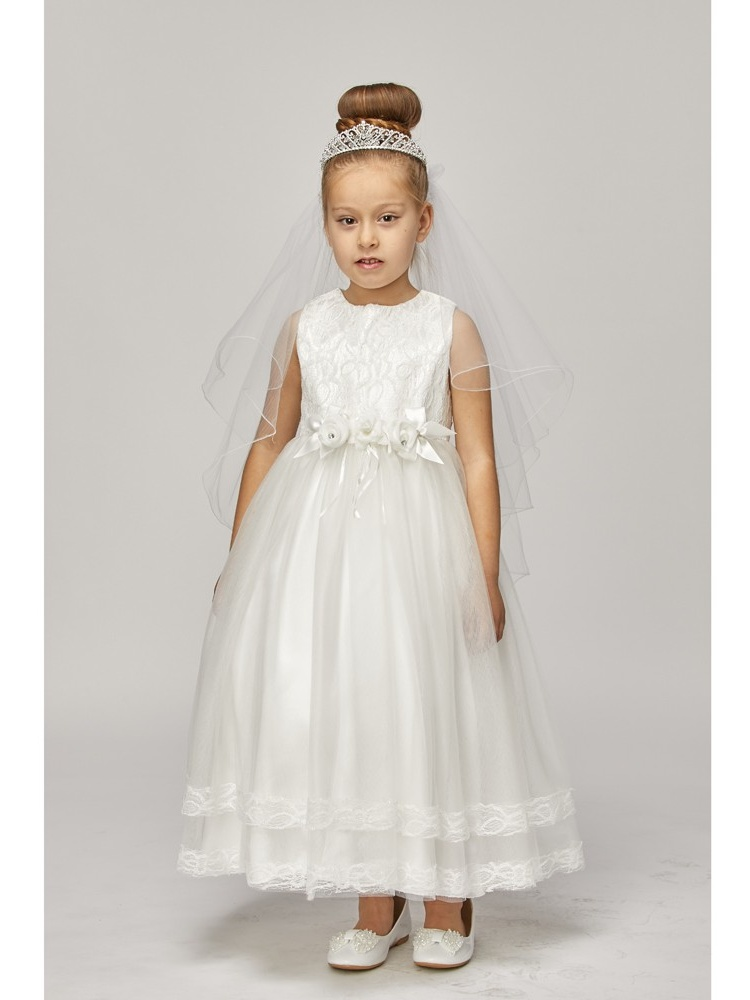 Little Girls White Lace Trim Double Layered Tulle Flower Girl Dress 2-6