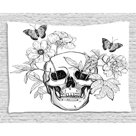 Day Of The Dead Decor Tapestry, Skull with Flower Blooms and Butterflies Vintage Gothic Print, Wall Hanging for Bedroom Living Room Dorm Decor, 80W X 60L Inches, Black and White, - Dead Flower