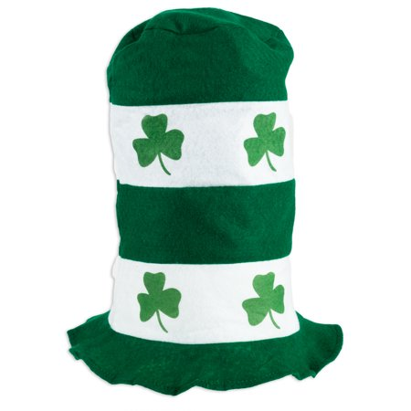 """St. Patrick's Day Party Striped Shamrock Design 11"""" Stove Top Hat Green"""