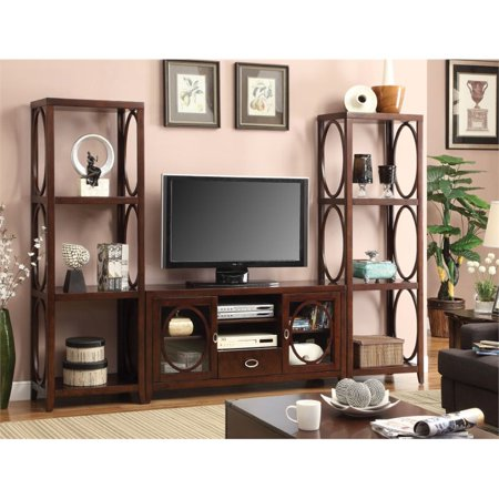 Furniture of America Beasley 3 Piece Entertainment Center in Cherry