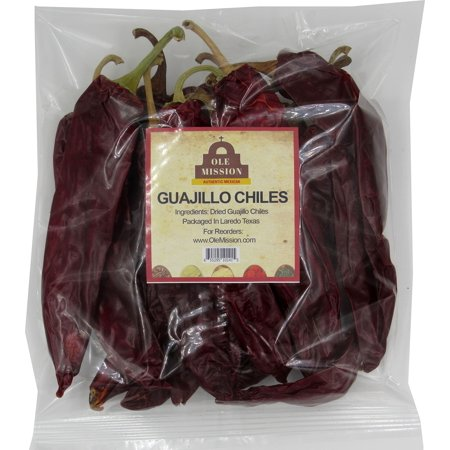 Guajillo Chiles Peppers 4 oz Bag, Great For Cooking Mexican Chilli Sauce, Chili Paste, Red Salsa, Tamales, Enchiladas, Mole With Sweet Heat And All Mexican Recipes by Ole Mission 4 ounce