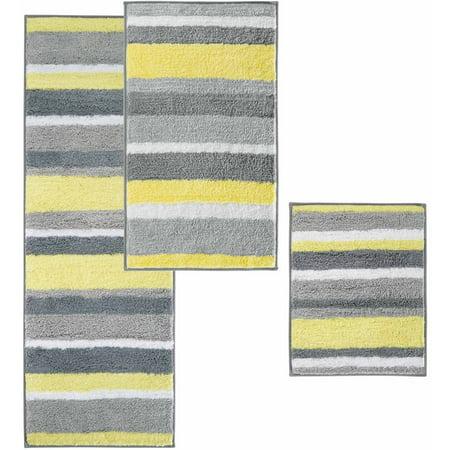iDesign Microfiber Stripes Bathroom Shower Rug, 21