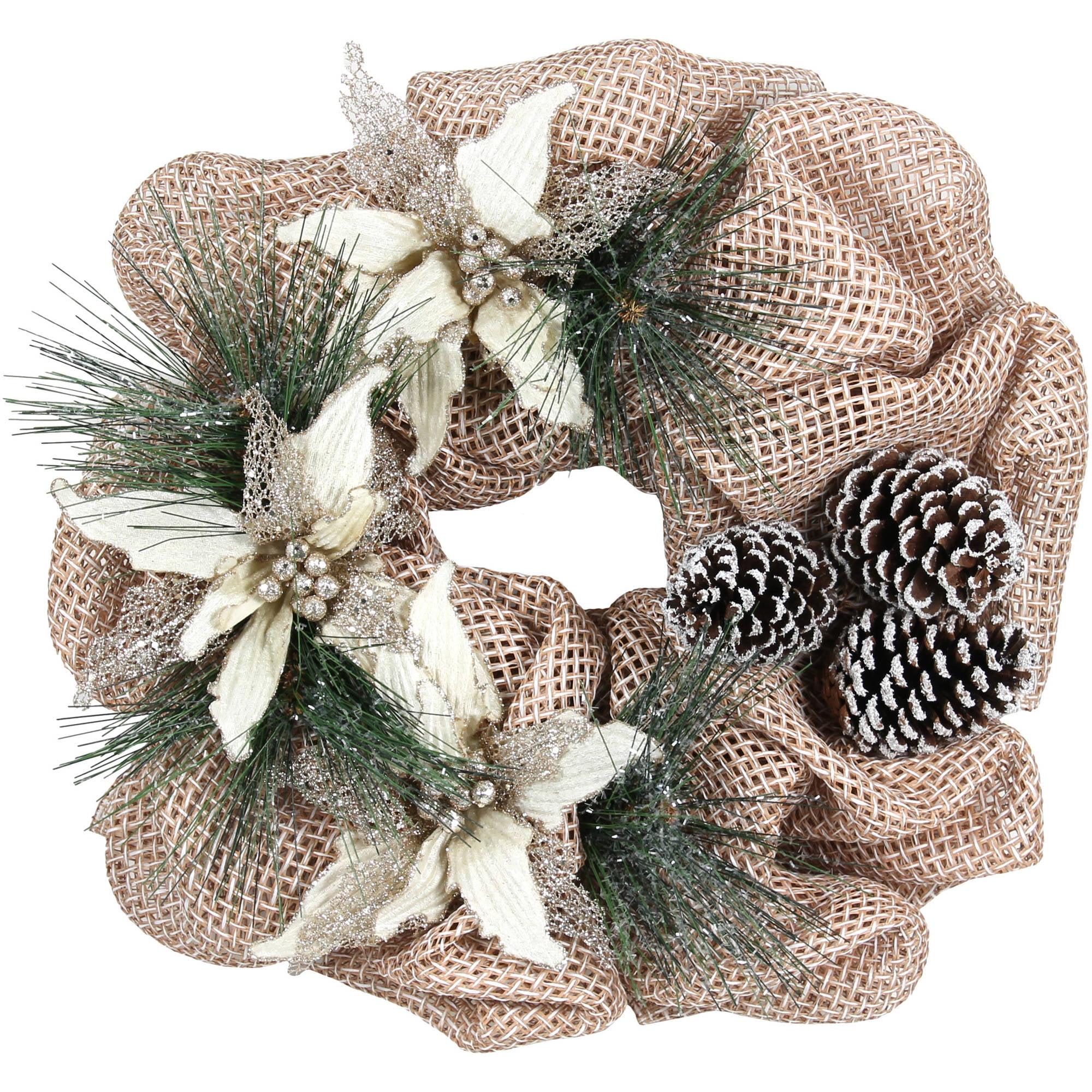 "Holiday Time Christmas Decor Natural Poinsettia 20"" Wreath"