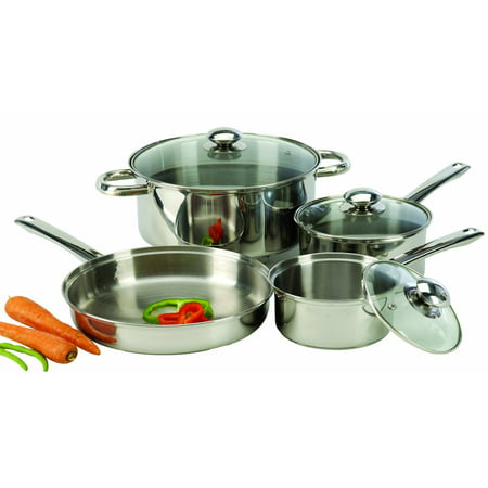 - Cook Pro 7-Piece Stainless Steel Cookware Set with Encapsulated Base