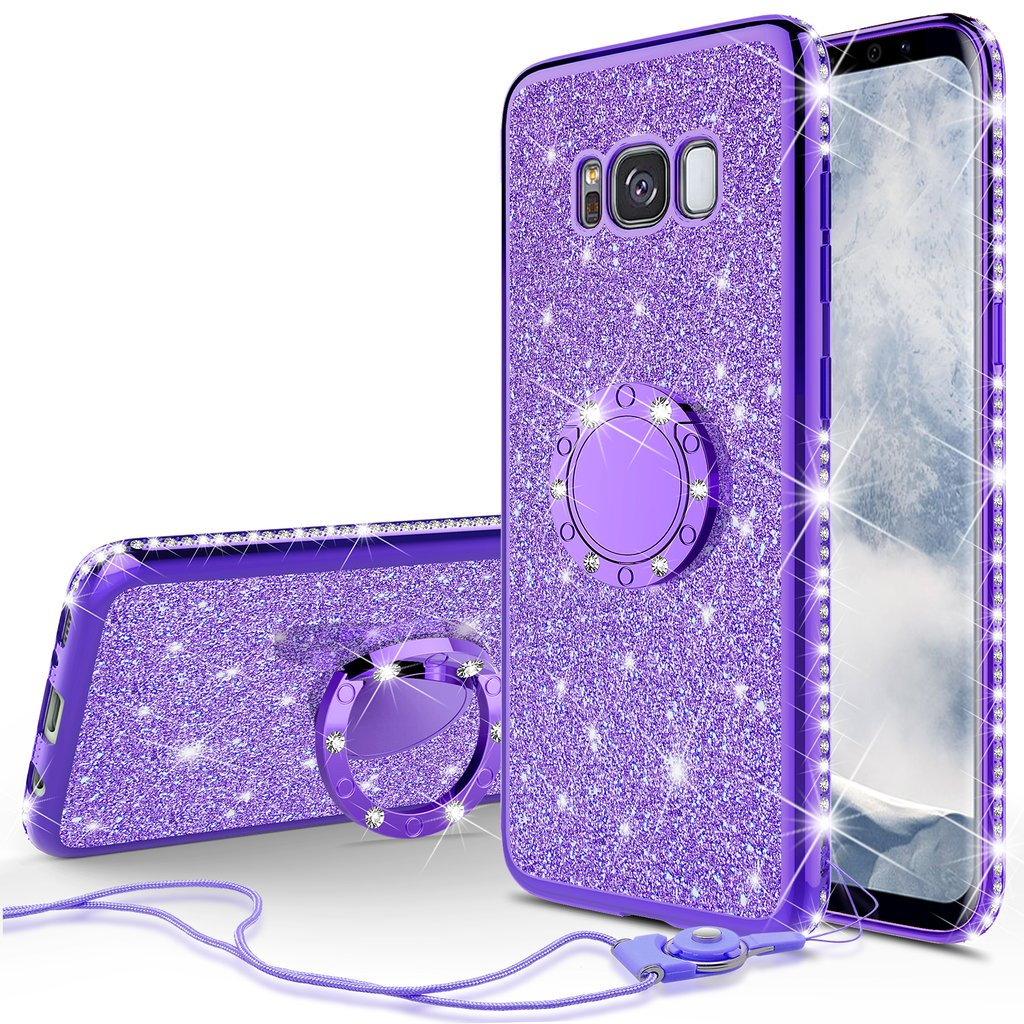 buy popular 7a7de bf33a Samsung Galaxy S8 Plus Case Glitter Ring Stand Phone Case, Bling Diamond  Rhinestone Bumper Ring Stand Sparkly Luxury Clear Thin Soft Protective ...