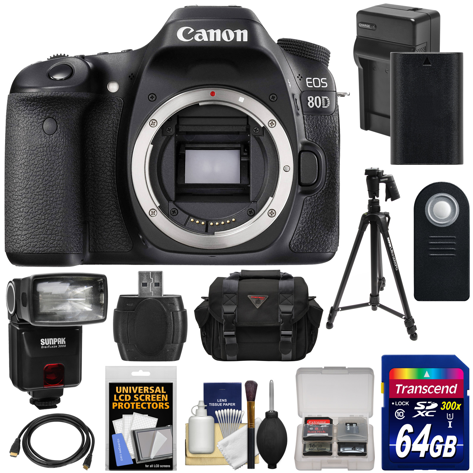 Canon EOS 80D Wi-Fi Digital SLR Camera Body with 64GB Card + Battery & Charger + Case + Flash + Tripod + Kit by Canon