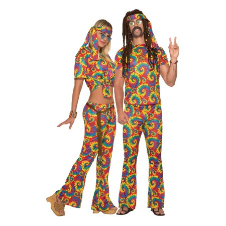 Adult Unisex Tie Dye Hippie Halloween Costume - Hippie Outfits Halloween