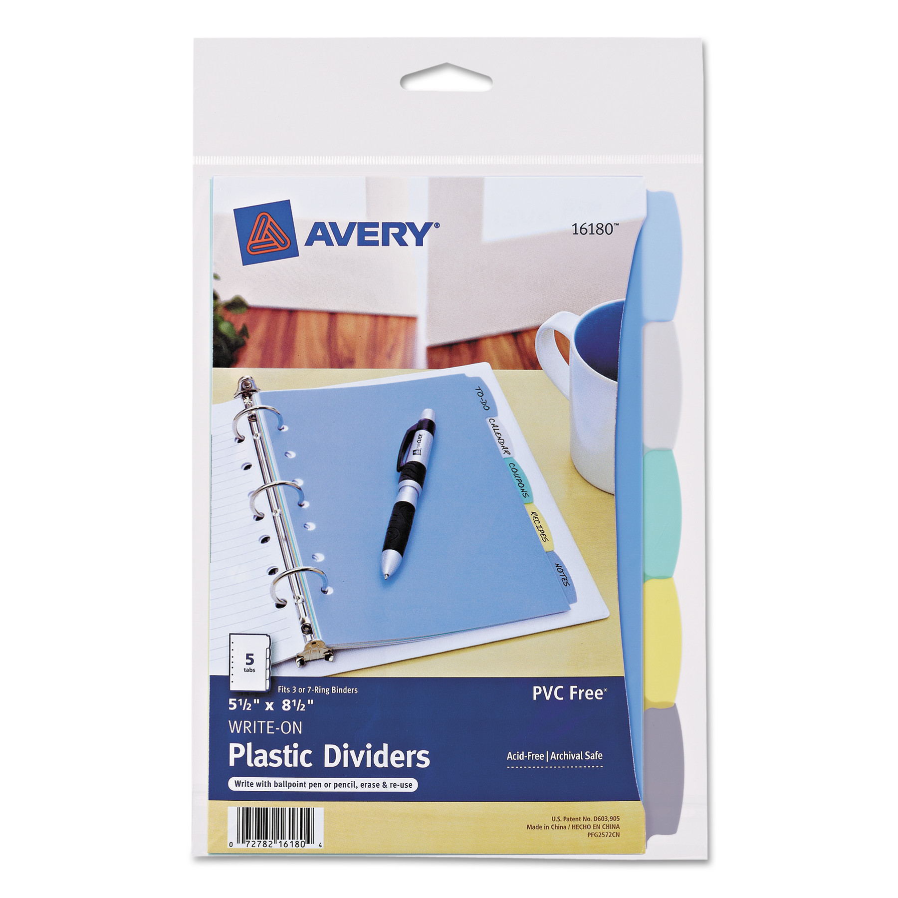 "Avery(R) Mini Durable Write-On Plastic Dividers 16180, 5-1/2"" x 8-1/2"", 5-Tab Set"