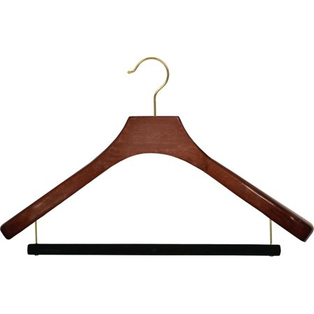 The Great American Hanger Company Deluxe Wooden Suit Hanger with Velvet Bar, Walnut Finish & Brass Swivel Hook, Large 2 Inch Wide Contoured Coat &
